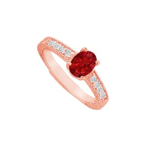 DesignByVeronica Ruby and CZ Prong Set Ring in 14K Rose Gold Vermeil