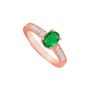 DesignByVeronica Emerald and CZ Prong Set Ring in 14K Rose Gold Vermeil