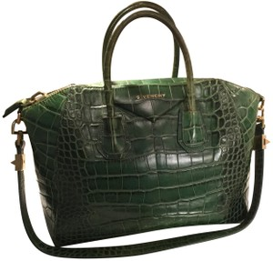Givenchy Crocodile Embossed Leather Satchel in Green