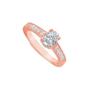 DesignByVeronica Cubic Zirconia Prong Set Ring in 14K Rose Gold Vermeil