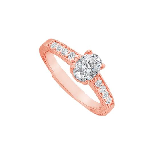 DesignByVeronica Cubic Zirconia Prong Set Ring in 14K Rose Gold Vermeil Image 0