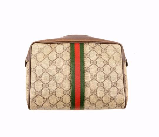 Gucci Web GG Monogram Canvas Leather Cosmetics Travel Dopp Toiletry Bag Image 2