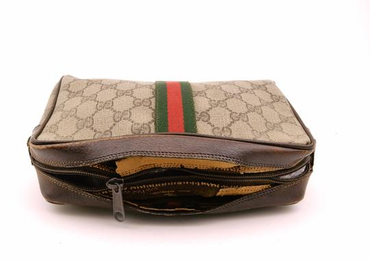 Gucci Web GG Monogram Canvas Leather Cosmetics Travel Dopp Toiletry Bag Image 5