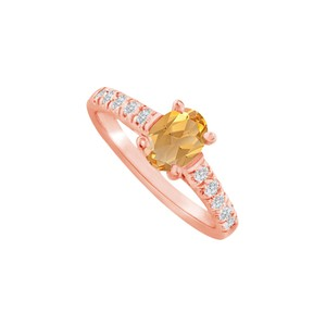 DesignByVeronica Oval Citrine and CZ Ring in 14K Rose Gold Vermeil