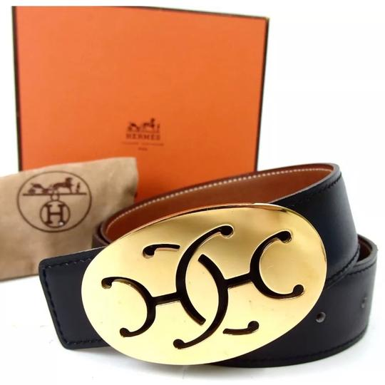 Hermès Hermès logo reversible black brown belt 75 Image 1