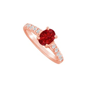 DesignByVeronica Oval Shaped Ruby and CZ Ring in 14K Rose Gold Vermeil