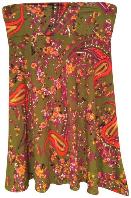 Item - Olive Green Coral Yellow Mustard Skirt Size 12 (L, 32, 33)