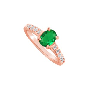 DesignByVeronica Oval Emerald and CZ Ring in 14K Rose Gold Vermeil