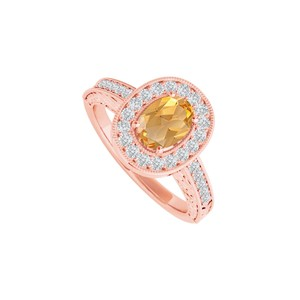 DesignByVeronica Citrine Cubic Zirconia Ring in 14K Rose Gold Vermeil