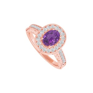 DesignByVeronica Amethyst and CZ Halo Ring in 14K Rose Gold Vermeil