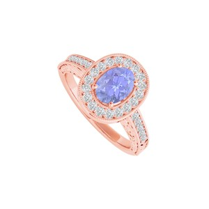 DesignByVeronica Tanzanite and CZ Halo Ring in 14K Rose Gold Vermeil