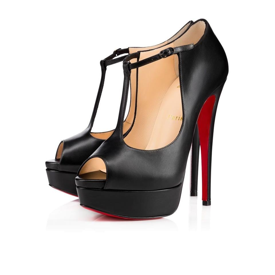 c817d3e19fd Christian Louboutin Black Altapoppins 150 Leather Platform Ankle T Strap  Stiletto Heel Pumps Size EU 38 (Approx. US 8) Regular (M, B) 39% off retail