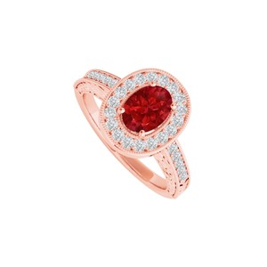 DesignByVeronica Ruby CZ Halo Engagement Ring in 14K Rose Gold Vermeil