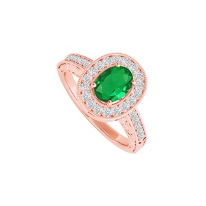 DesignByVeronica Emerald and CZ Halo Ring in 14K Rose Gold Vermeil