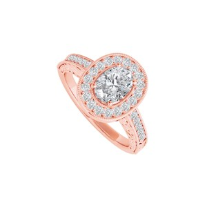 DesignByVeronica Cubic Zirconia Halo Ring in 14K Rose Gold Vermeil