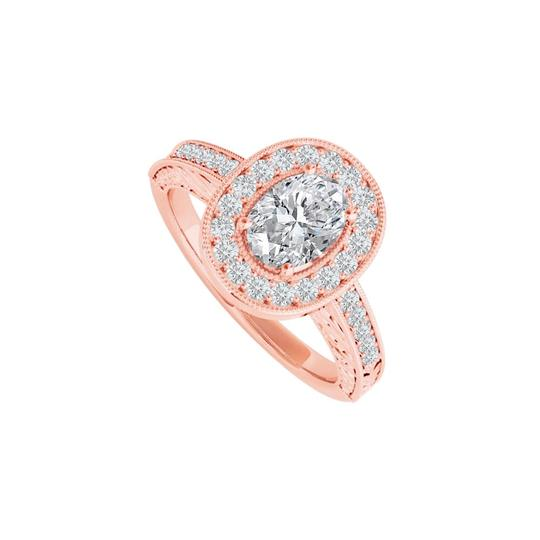 DesignByVeronica Cubic Zirconia Halo Ring in 14K Rose Gold Vermeil Image 0