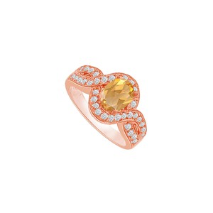 DesignByVeronica Twisted Shank Citrine and CZ Halo Ring 1.75 CT TGW