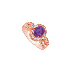 DesignByVeronica Twisted Shank Amethyst and CZ Halo Ring 1.75 CT TGW