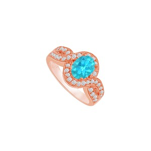 DesignByVeronica Twisted Shank Blue Topaz and CZ Halo Ring 1.75 CT TGW