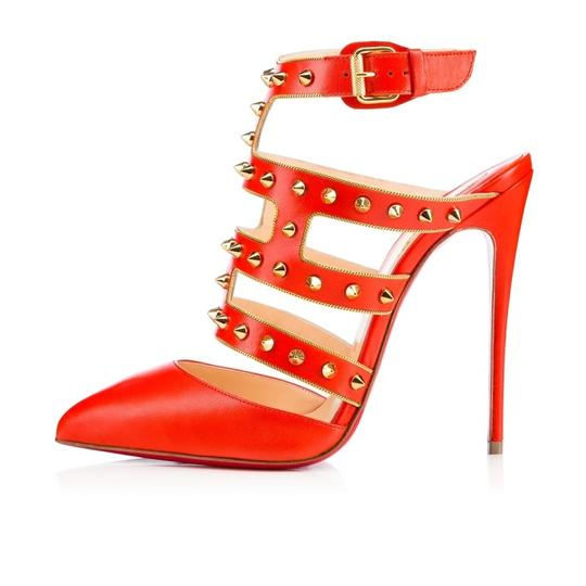 Christian Louboutin Stiletto Classic Choca Crisscross Strap Ankle Strap orange Pumps Image 2