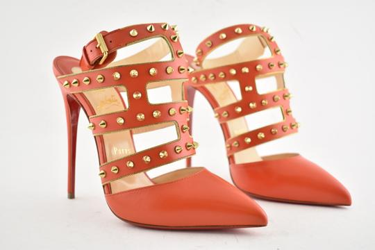 Christian Louboutin Stiletto Classic Choca Crisscross Strap Ankle Strap orange Pumps Image 3
