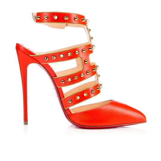 Christian Louboutin Stiletto Classic Choca Crisscross Strap Ankle Strap orange Pumps Image 6