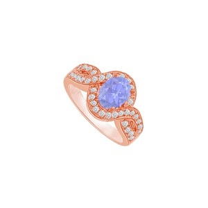 DesignByVeronica Twisted Shank Tanzanite and CZ Halo Ring 1.75 CT TGW
