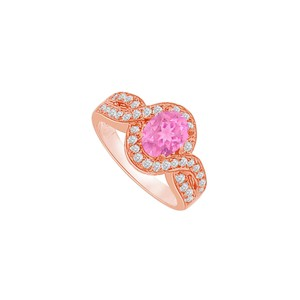 DesignByVeronica Twisted Shank Pink Sapphire and CZ Halo Ring 1.75 CT TW