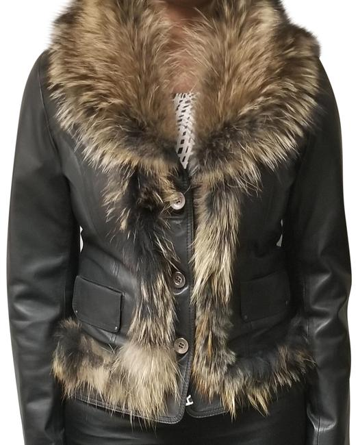 Leather and Fox Fur Coat Image 0