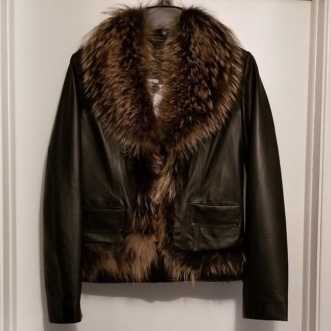 Leather and Fox Fur Coat Image 1