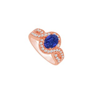 DesignByVeronica Twisted Shank Sapphire and CZ Halo Ring 14K Rose Gold