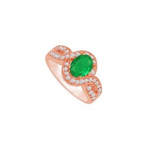 DesignByVeronica Twisted Shank Emerald and CZ Halo Ring in 14K Rose Gold