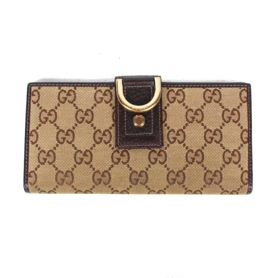 cb95b9569a34 Gucci Brown / Tan / Gold New: with Gg Print D Ring Clasp Wallet ...