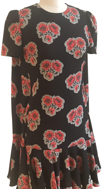 Alexander McQueen Black Red New Floral Cape Short Casual Dress Size 2 (XS) Alexander McQueen Black Red New Floral Cape Short Casual Dress Size 2 (XS) Image 1