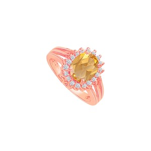 DesignByVeronica Citrine and CZ Split Shank Halo Engagement Ring 2 CT TW