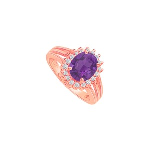 DesignByVeronica Amethyst and CZ Split Shank Halo Ring 14K Rose Gold