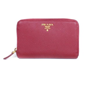 Prada Prada Medium Red Zip Around Wallet Saffiano Leather Gold Hardware