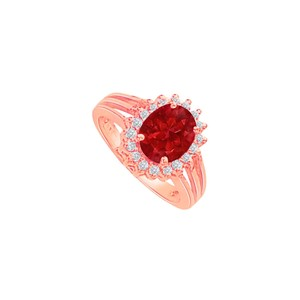 DesignByVeronica Ruby and CZ Split Shank Halo Engagement Ring 2 CT TGW