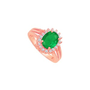 DesignByVeronica Emerald and CZ Split Shank Halo Engagement Ring