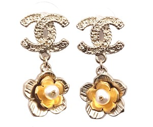 Chanel Chanel Gold Textured CC Flower Fresh Water Pearl Piercing Earrings