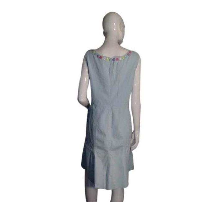 Blue Maxi Dress by Moschino Jumper Denim Mint Green Size 10 Top Image 2