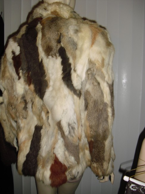 Genuine Fur Calico Rabbit Patchwork Unique brown, beige, off white Leather Jacket Image 1