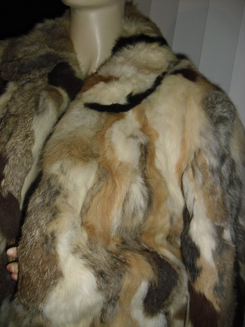 Genuine Fur Calico Rabbit Patchwork Unique brown, beige, off white Leather Jacket Image 2