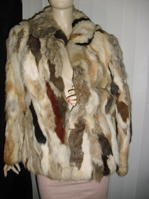 Genuine Fur Calico Rabbit Patchwork Unique brown, beige, off white Leather Jacket Image 3
