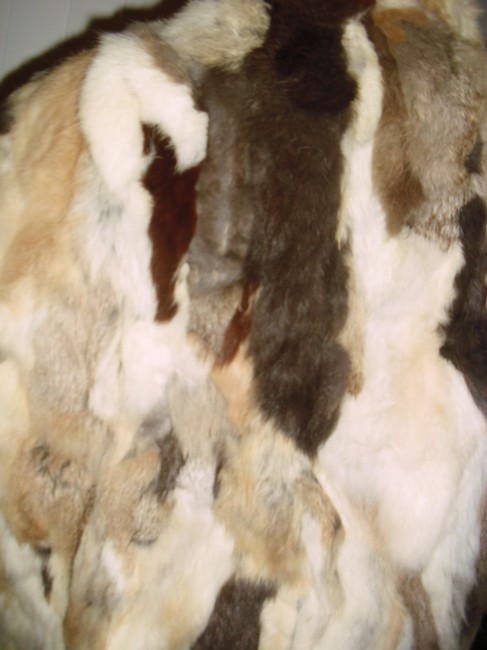 Genuine Fur Calico Rabbit Patchwork Unique brown, beige, off white Leather Jacket Image 6