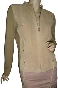 Genuine Suede Leather Drawstring Studs With Knit Cardigan