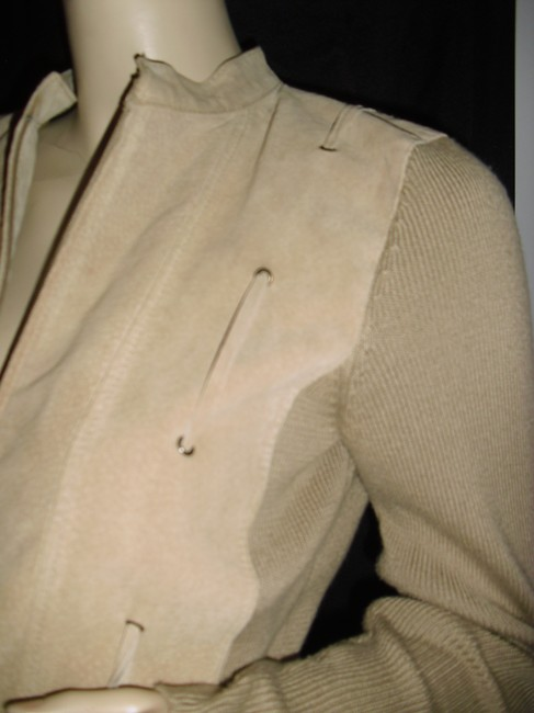Genuine Suede Leather Drawstring Studs With Knit Cardigan Image 3