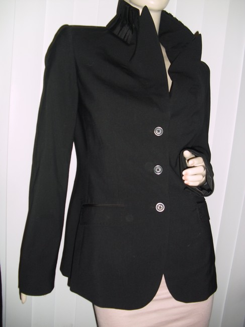 Saks Fifth Avenue Unique Pleated Collar Tapered Style Bodycon Style black Blazer Image 1