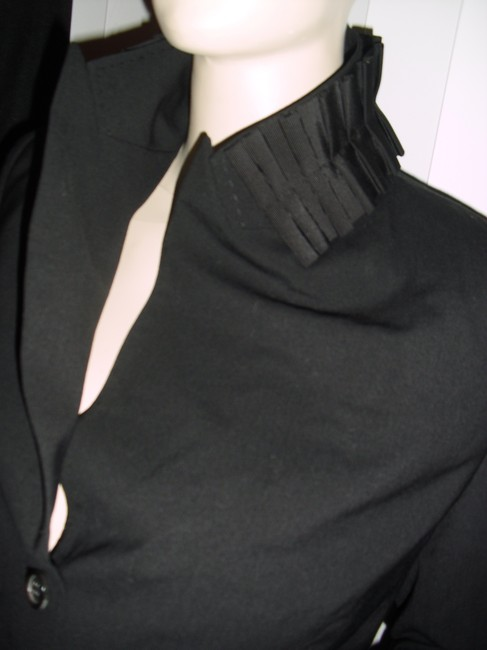 Saks Fifth Avenue Unique Pleated Collar Tapered Style Bodycon Style black Blazer Image 4