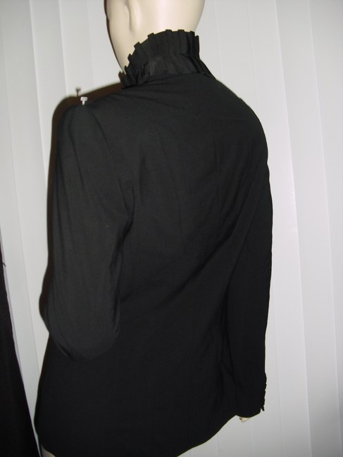Saks Fifth Avenue Unique Pleated Collar Tapered Style Bodycon Style black Blazer Image 6